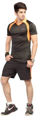 Being Responsible Self Design Men's Polo Black T-Shirt