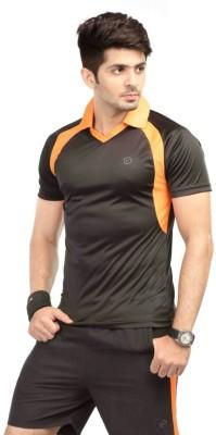Being Responsible Self Design Men's Polo Neck Black T-Shirt