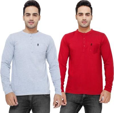 Eprilla Solid Men,s Henley Maroon, Grey T-Shirt