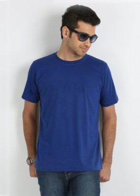Merlin Solid Men's Round Neck Blue T-Shirt