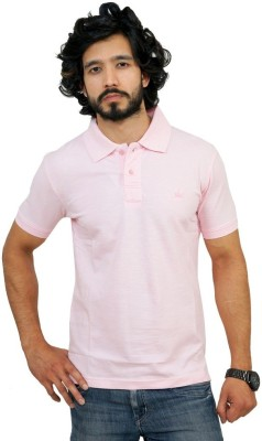 Men In Class Self Design Men's Polo Neck Pink T-Shirt