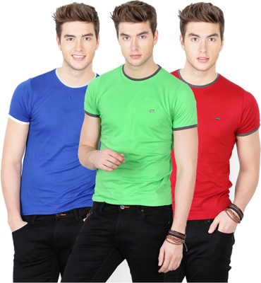 Basics Solid Men's Round Neck Red, Green, Blue T-Shirt