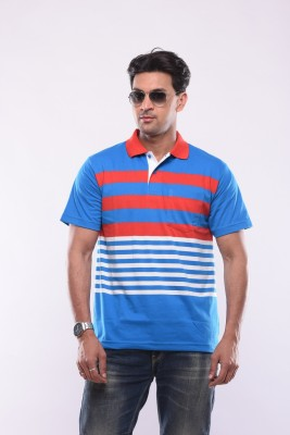 SHAYAN EXPORT Striped Men's Flap Collar Neck Multicolor T-Shirt