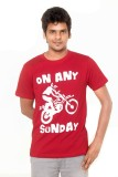 Yaari Printed Men's Round Neck Red T-Shi...