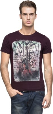 Vsquared Printed Men's Round Neck Purple T-Shirt