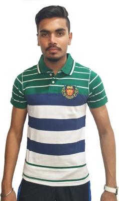 London Eye Striped Men,s Polo Neck Green, White T-Shirt