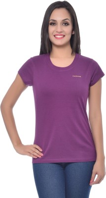 Frenchtrendz Solid Women,s Round Neck Purple T-Shirt