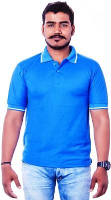 Colours99 Solid Men,s, Boy's Polo Neck Blue T-Shirt