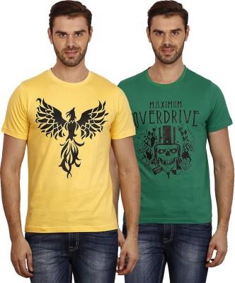 Crush on Craze Printed Men's Round Neck Yellow, Green T-Shirt