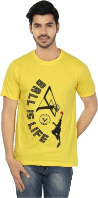 Royal Eagle collection Printed Men,s Round Neck Yellow T-Shirt