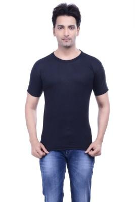 MKM Solid Men's Round Neck Black T-Shirt