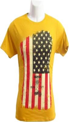 Revinfashions Graphic Print Men's Round Neck Yellow T-Shirt
