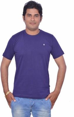 LEAF Solid Men's Round Neck Purple T-Shirt