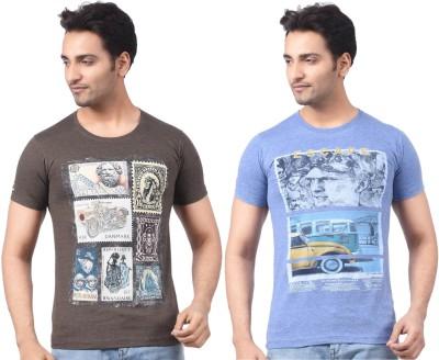 Four Squares Graphic Print Men's Round Neck Multicolor T-Shirt