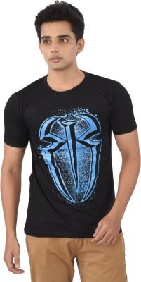 Attitudecrazyzone Printed Men,s Round Neck Black, Blue T-Shirt