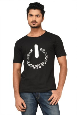 Black Sparrow Printed Men's Round Neck Black T-Shirt