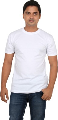 LOOX by Apoorti Solid Men's Round Neck White T-Shirt