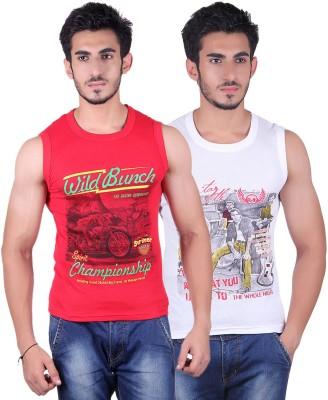 White Moon Printed Men's Round Neck White, Red T-Shirt