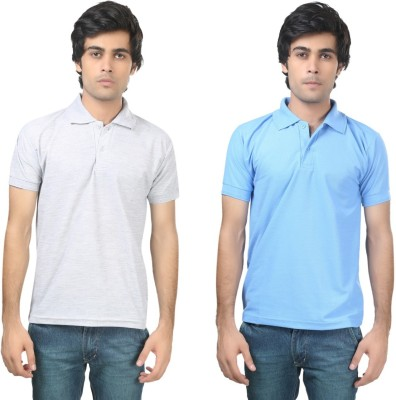Stylish Trotters Solid Men's Polo Grey, Light Blue T-Shirt
