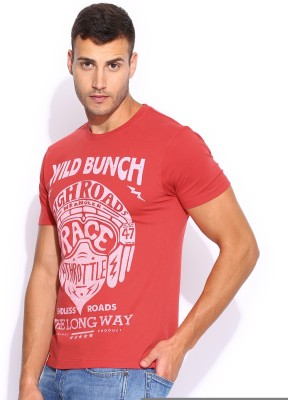 Wrangler Solid Men's Round Neck Red T-Shirt