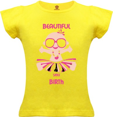 Tuscans Graphic Print Baby Girl's V-neck Yellow T-Shirt