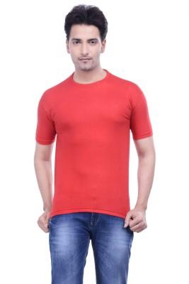 MKM Solid Men's Round Neck Red T-Shirt