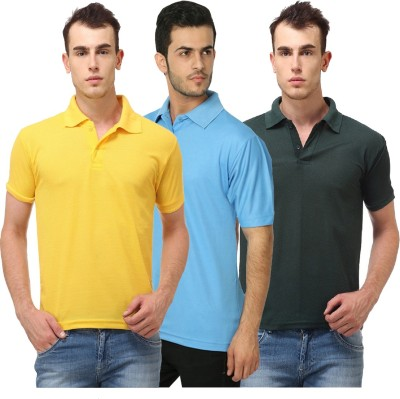 Lime Solid Men's Polo Neck Yellow, Light Blue T-Shirt