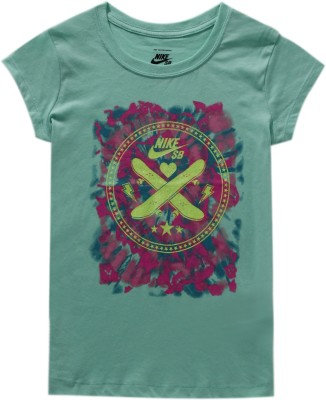 Nike Graphic Print Girl's Round Neck Green T-Shirt