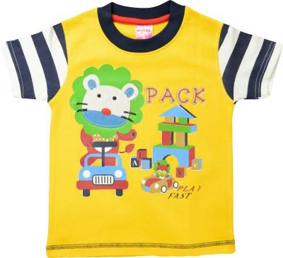 Myfaa Printed Baby Boy's Round Neck Yellow T-Shirt