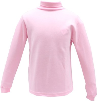Romano Solid Girl's Turtle Neck Pink T-Shirt