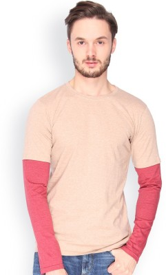 Campus Sutra Solid Men's Round Neck Brown T-Shirt