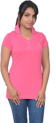 Point Fit Solid Women's Polo Pink T-Shirt