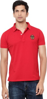 LA Seven Solid Men's Polo Neck Red T-Shirt