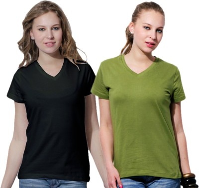 Rakshita,s Collection Solid Women,s V-neck Multicolor T-Shirt