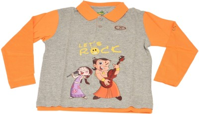 Green Gold Printed Boy's Polo Neck Orange T-Shirt
