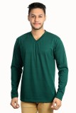 Zeki Solid Men's V-neck Green T-Shirt