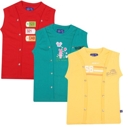 SPN Garments Printed Girl,s Round Neck Red, Green, Yellow T-Shirt