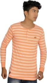 JG FORCEMAN Striped Men's Henley Orange, White T-Shirt