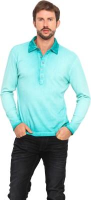 Smokestack Solid Men's Polo Neck Green T-Shirt