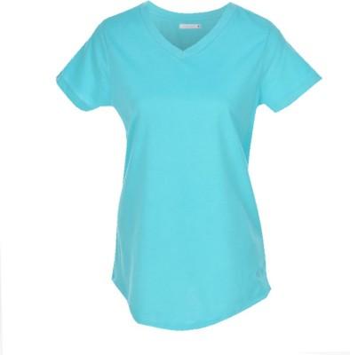 Nordlich Solid Women's V-neck Blue T-Shirt