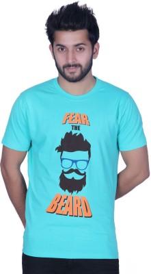 Ektarfaa Printed Men's Round Neck Light Green T-Shirt