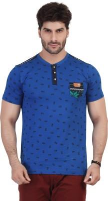 Purple Haze Geometric Print Men's Henley Blue T-Shirt