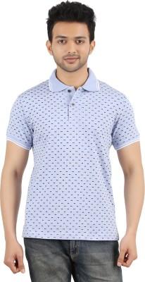 MA Printed Men's Polo Neck Blue T-Shirt