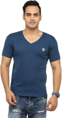 Byrock Solid Men's V-neck Blue T-Shirt