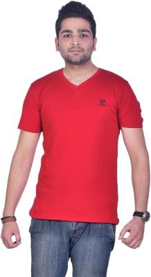 Colors and Blends Solid Men,s V-neck Red T-Shirt