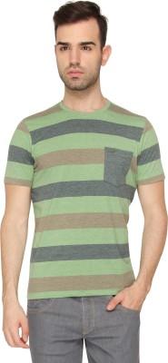 Crocodile Striped Men,s Round Neck Green T-Shirt
