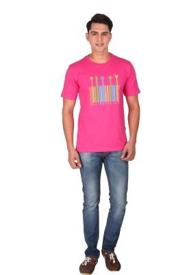 Tohfaa Printed Men's Round Neck Pink T-Shirt