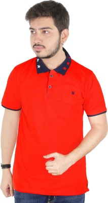 Yellow Dots Solid Men's Flap Collar Neck Red T-Shirt