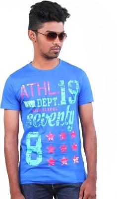 S CUBE Printed Men's Round Neck Dark Blue T-Shirt