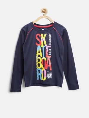 YK Printed Boy's Round Neck Dark Blue T-Shirt